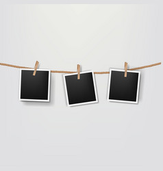 Photos on the rope grey background vector