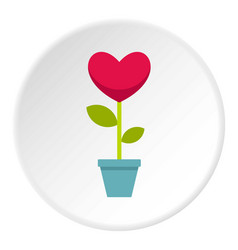 Pink heart flower in a pot icon circle vector