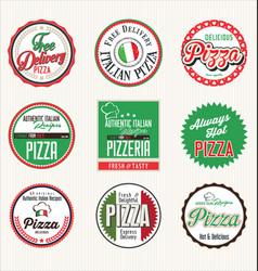 pizza retro badges vector image