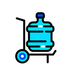 Plastic water bottle delivery color icon vector