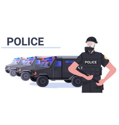 policeman in full tactical gear riot police vector image