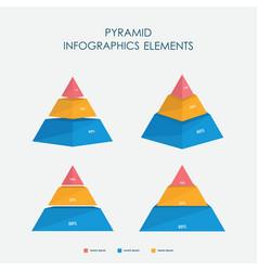 pyramid chart infographics elements 3d set vector image