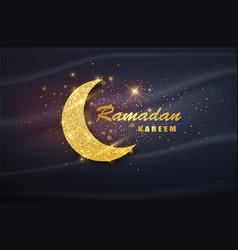 ramadan kareem poster with muslim crescent vector image