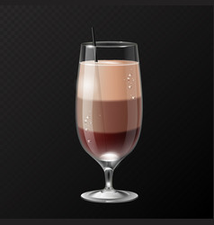 Realistic cocktail irish coffee glass vector