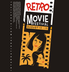 retro movies festival promotional poster design vector image