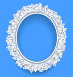 round classic frame with white roses wreath on vector image