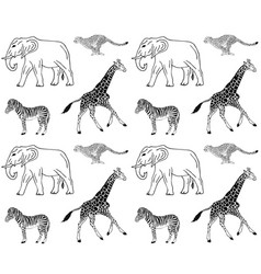 seamless pattern african animals vector image