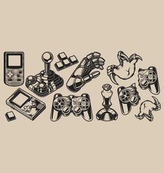 set elements design for gaming theme vector image