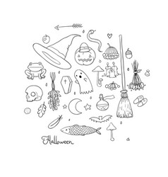 set for halloween in cartoon style vector image