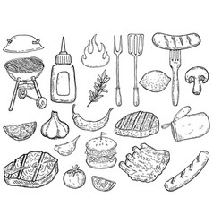 set hand drawn grill design elements meat vector image