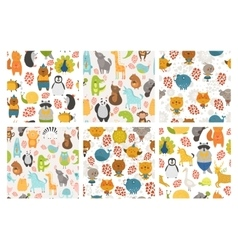 Set of animals backgrounds vector