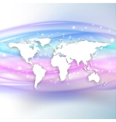 Silhouette of white world map with shadow on vector image