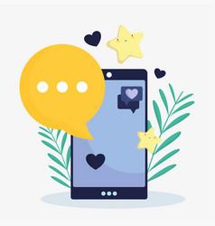 smartphone favourite star talk bubble social media vector image