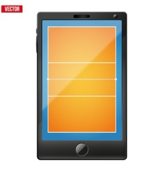 Smartphone with a volleyball field on the screen vector image