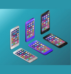 Smartphones with working screens in isometry vector