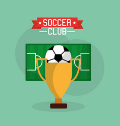 soccer club trophy ball and field sport vector image