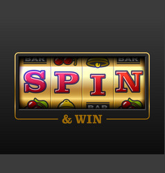 Spin and win slot machine games banner gambling vector