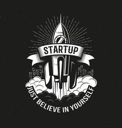 startup vintage logo vector image