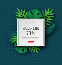Summer sale banners with exotic jungle tropical vector