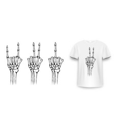 T-shirt design with skeleton hands vintage vector