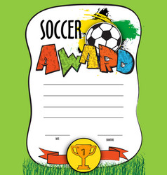template certificate soccer championship vector image