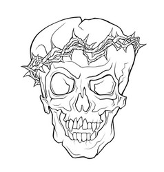 The skull of a grinning vampire in thorns wreath vector