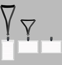Three white lanyard with grey holder vector