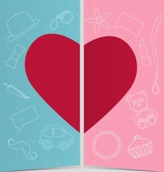 Valentine decor with two half heart vector