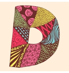 Vintage monogram d doodle colorful alphabet vector
