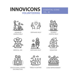 Volunteering - modern line design icons set vector