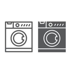 washing machine line and glyph icon electronic vector image