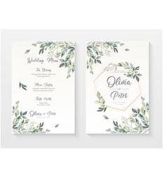 Wedding menu invitation document template vector