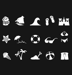 White beach icon set on black background vector