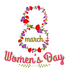 woman s day text calligraphy design with flowers vector image