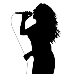woman singer holding a microphone with gray cable vector image