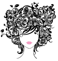 Woman with flowers in hair vector image