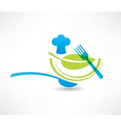 blue kitchen set cook and a green leaf icon vector image vector image