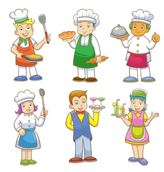 cartoons of kids chefs and set of cooking vector image vector image