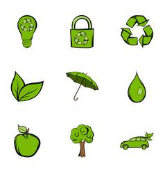 environmental icons set cartoon style vector image vector image