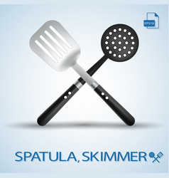 kitchen tools crossed spatula and skimmer isolated vector image vector image