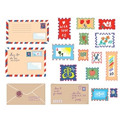 Letters and post stamps funny set vector image