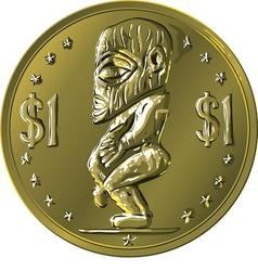 Money gold coin Cook Islands Dollar vector image