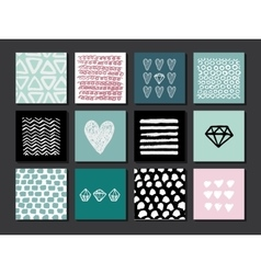 Set of 12 creative art cards Hand Drawn textures vector image vector image