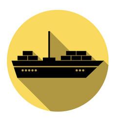 ship sign flat black icon vector image