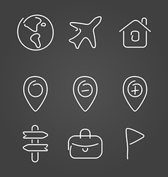 Travel trip set icons draw effect vector image vector image
