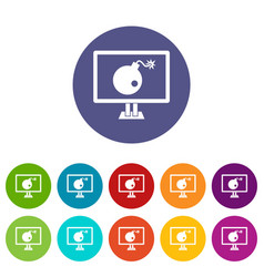 bomb on computer monitor set icons vector image