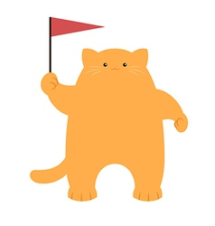 Cat and a flag vector image