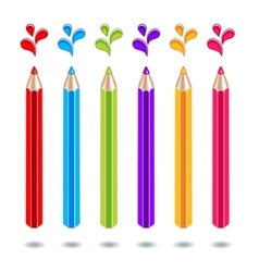 colored pencils with color blots on a white vector image