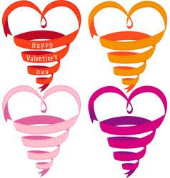 Heart shaped ribbons vector image vector image