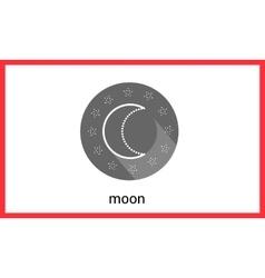 Moon contour outline icon vector image